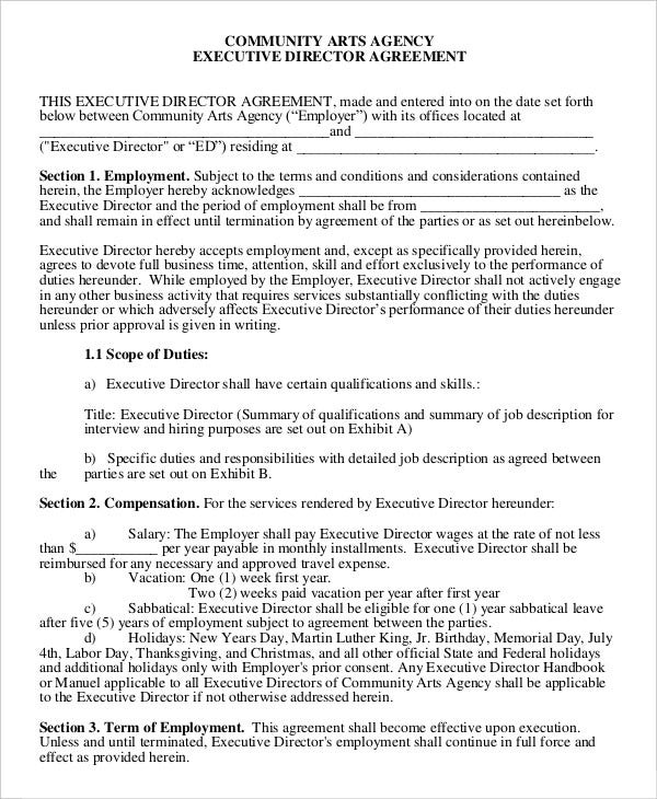 Employment Agreement Template 9 Free Sample Example Format – Executive Employment Agreement