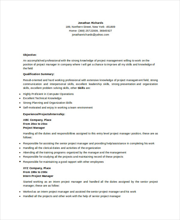 entry-level-project-manager-resume
