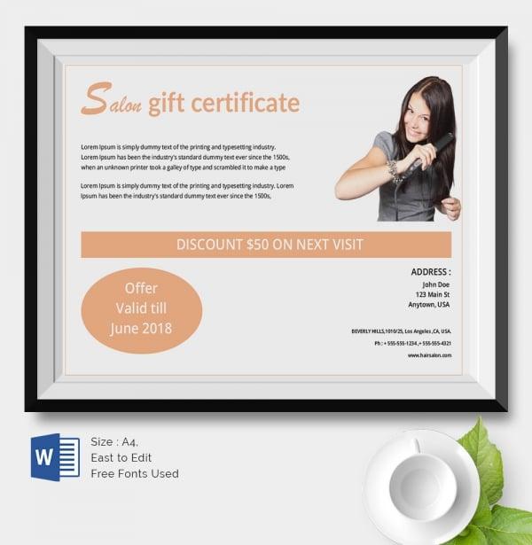 Hair Salon Gift Certificate Template