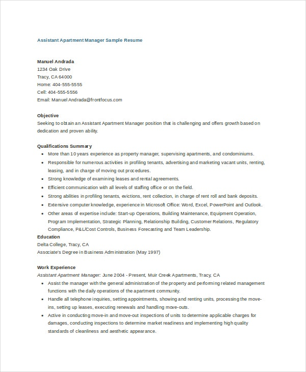 assistant-apartment-manager-sample-resume