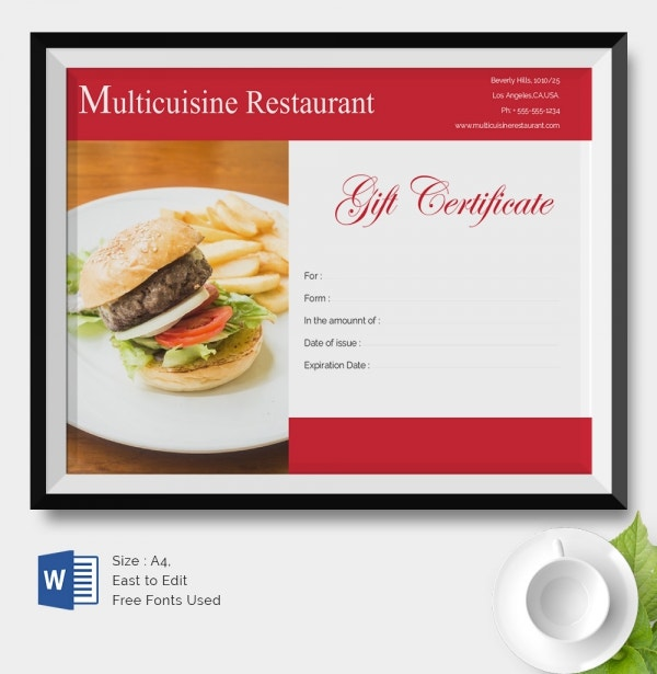 25 certificate templates free premium templates for Dining gift certificate template