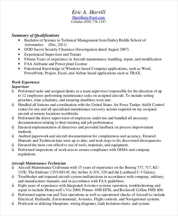 Air Force Military Resume