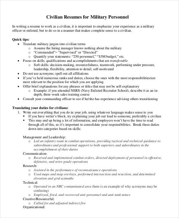 Military Resume - 8+ Free Word, PDF Documents Download ...
