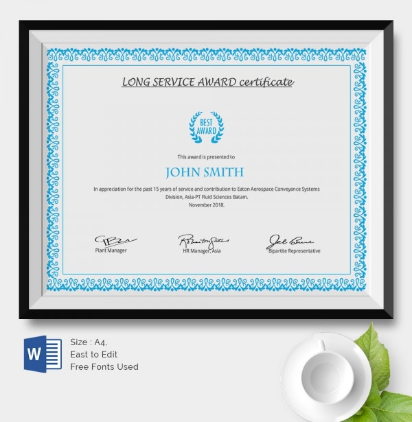 Certificate For Years Of Service Template