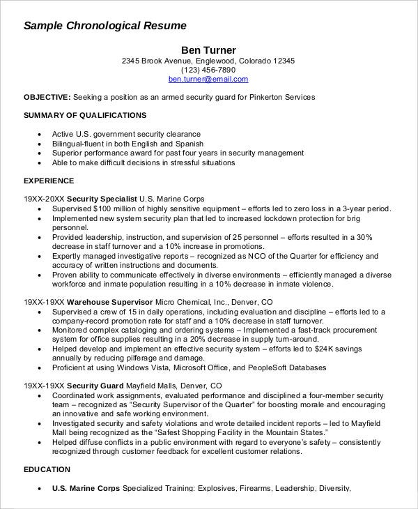 chronological military resume