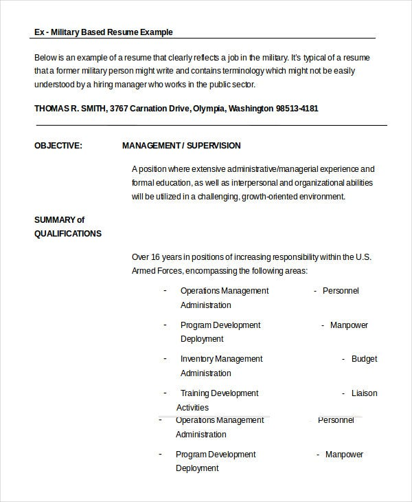 ex military resume - Example Of Military Resume
