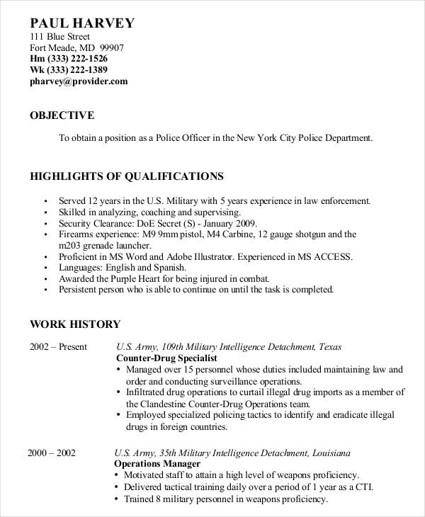 military transition resume samples police template free download example templates