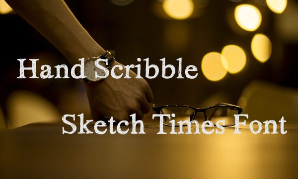 hand scribble sketch times font