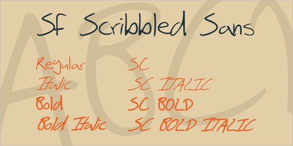sf scribbled sans font family