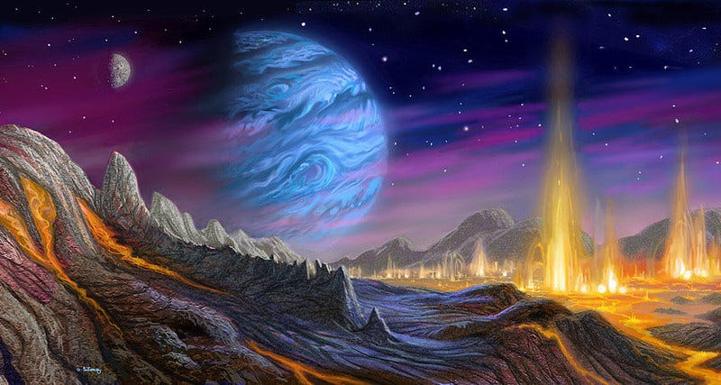 Fantasy Astronomical Blue Gas Giant Art