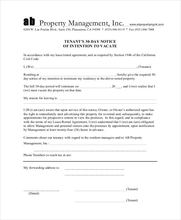 30 Day Notice Of Intention Tenant Form Template