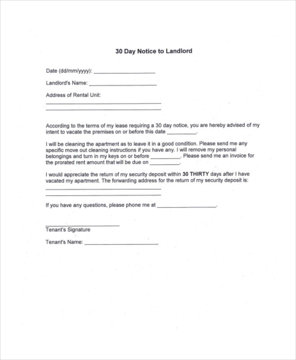 30 day notice 10 free word pdf documents download for Giving notice to landlord template