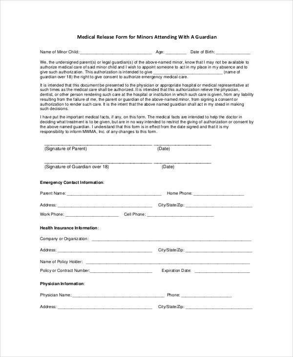 Free Medical Release Form For Minors