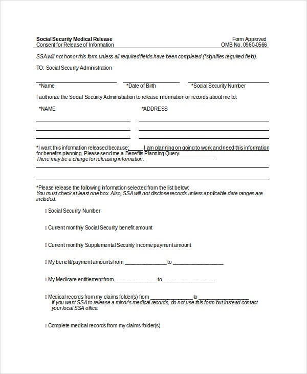 Social Security Medical Release Form In Doc