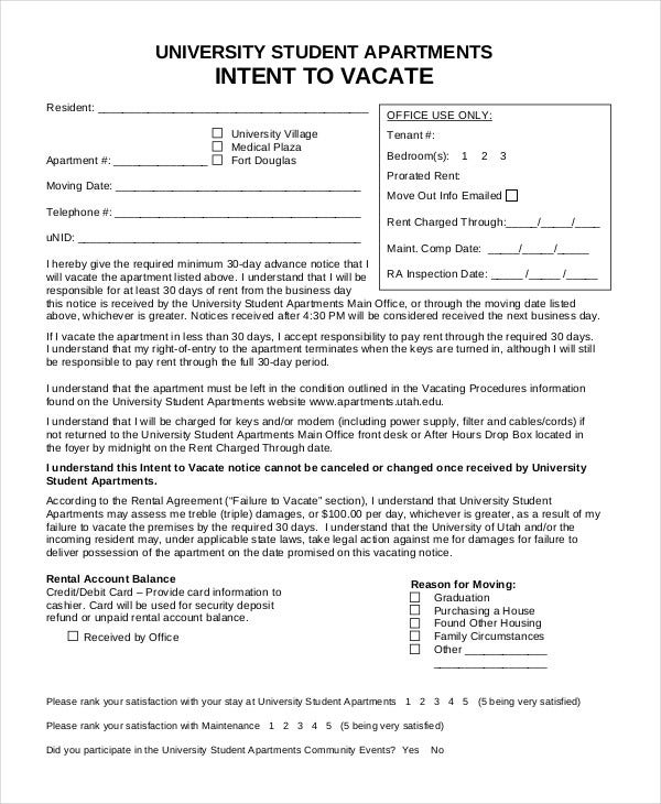 Notice To Vacate Form   Free Word Pdf Documents Download