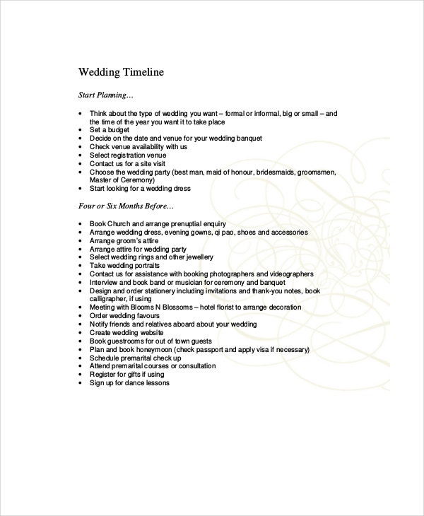 10+ Wedding Timeline Templates