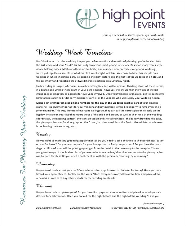 Wedding Timeline Templates  Free Sample Example Format  Free