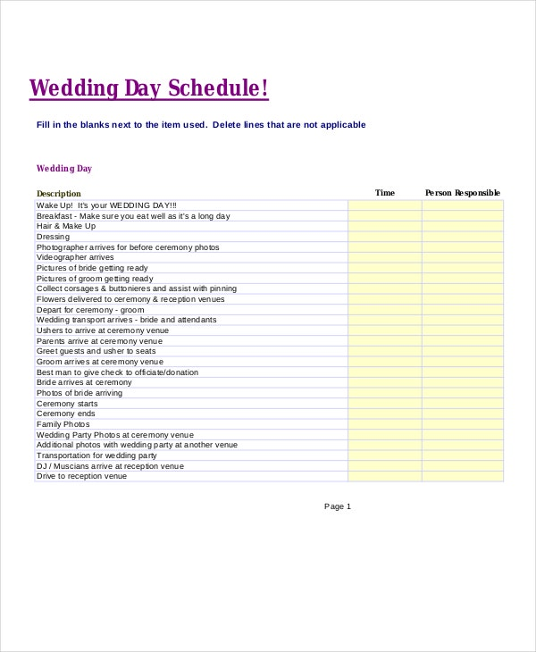 Sample Wedding Timeline Here Is That Picture From Www