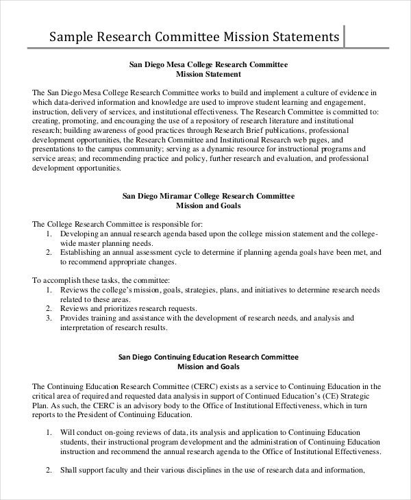committee-mission-statement-template