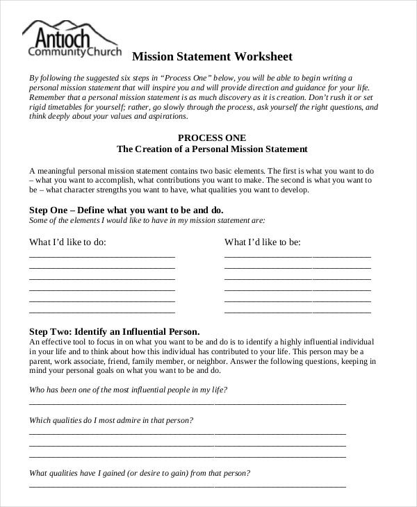 Mission Statement Template   Free Sample Example Format