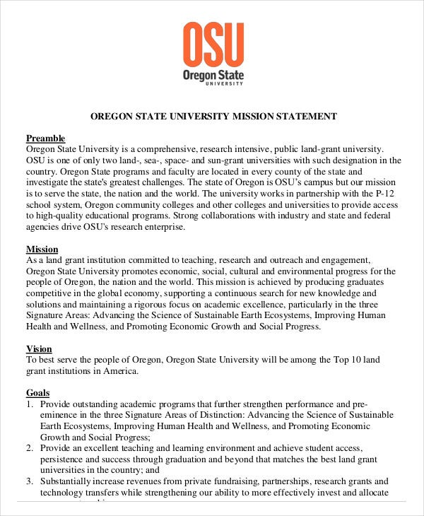 osu mission statement template download
