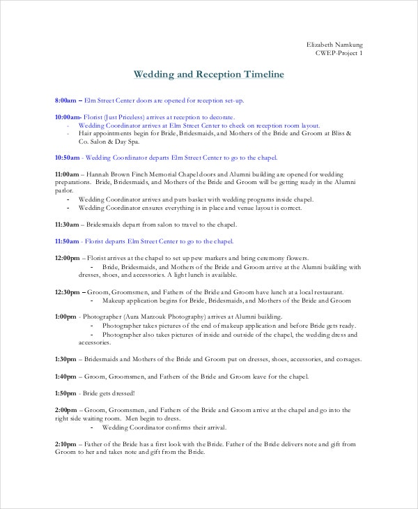 wedding timeline template 5 download documents in pdf word ppt