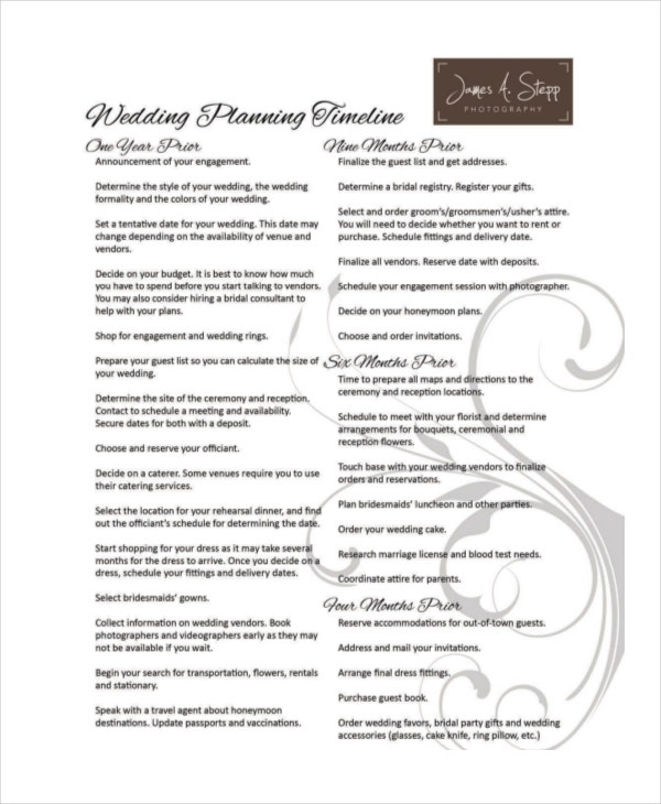 10+ Wedding Timeline Templates - Free Sample, Example, Format