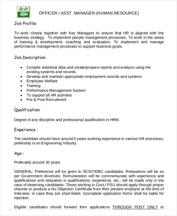 Example Of Job Description For Human Resource Manager – Printable