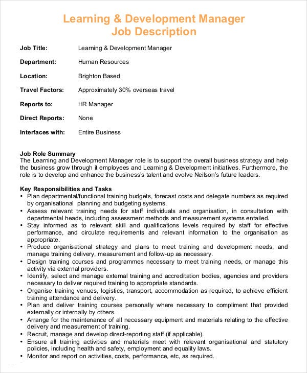 Hr Manager Job Description - 6+ Free Sample, Example, Format