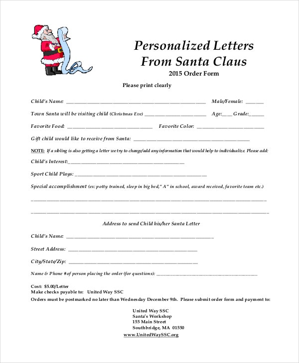 Personalized Santa Letter Template