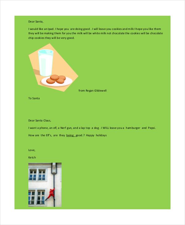 kindergarten santa letter template in pdf