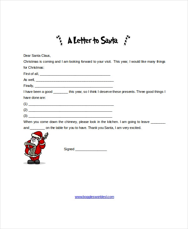 christmas santa letter template in word