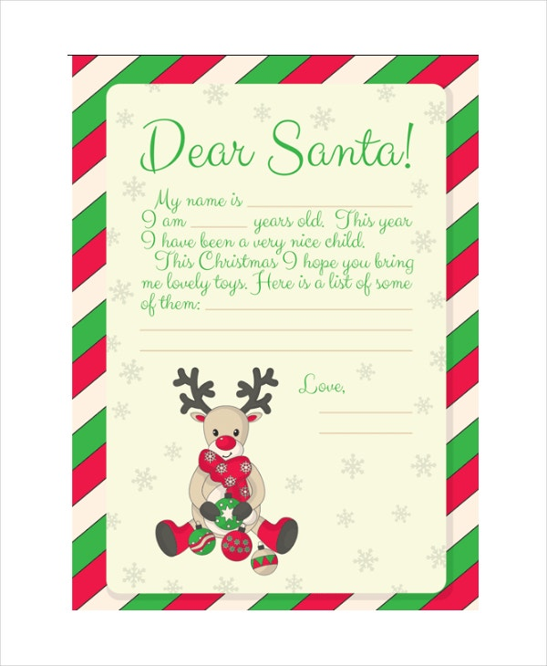 Free Kids Letter To Santa  Christmas List To Santa Template