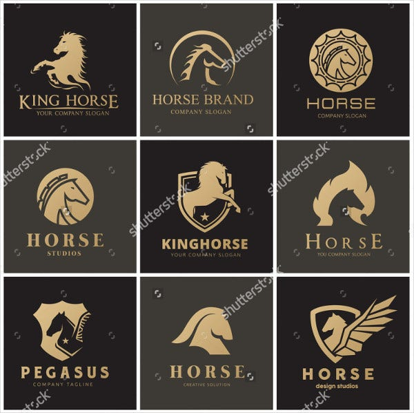 Black and Gold Printed Horse logo