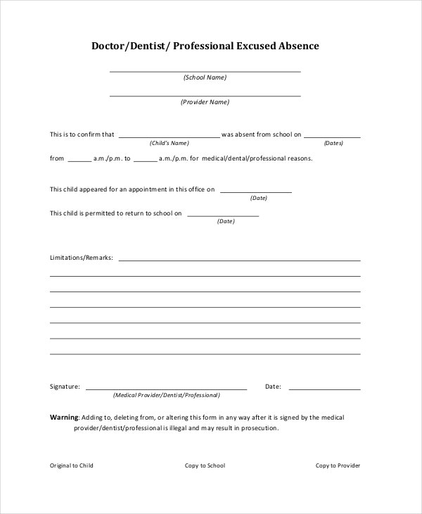 Doctors note template for school 6 free word pdf for School absence note template free