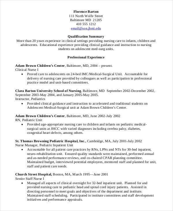 Nursing student resume example 10 free word pdf for Sample rn resume 1 year experience