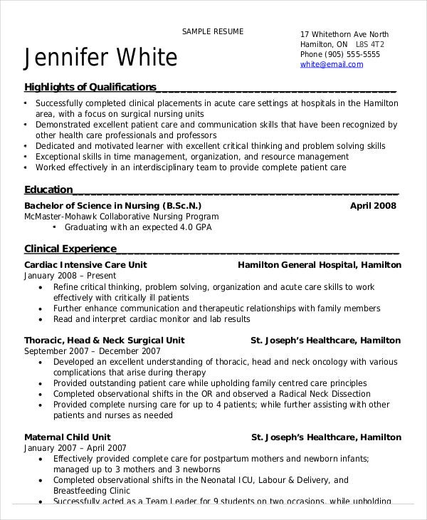 Resume For Nursing Student With Clinical Experience