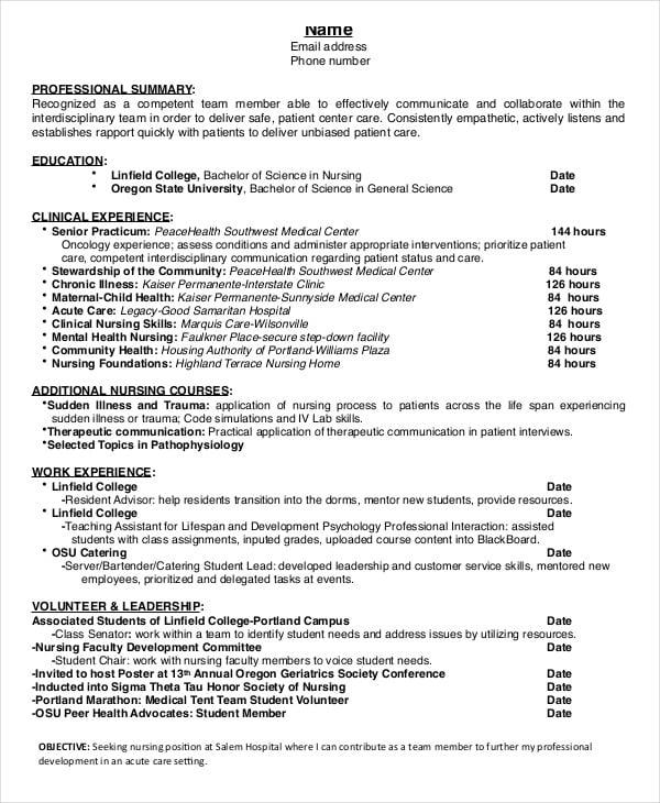 resume for nursing student