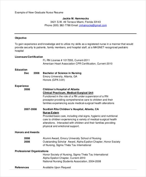 example of a nursing resume graduate nurse resume objective sample ...