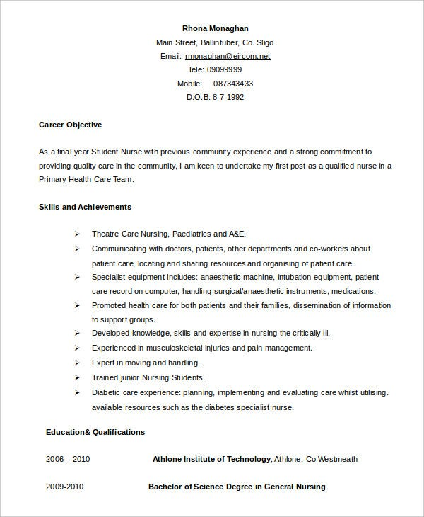 sample final year nursing student resume