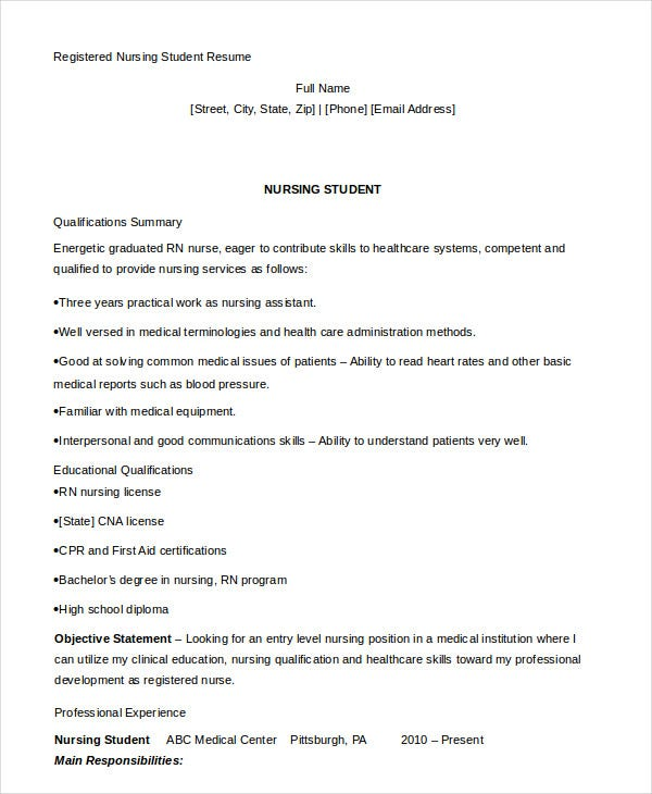 Registered Nursing Student Resume Template