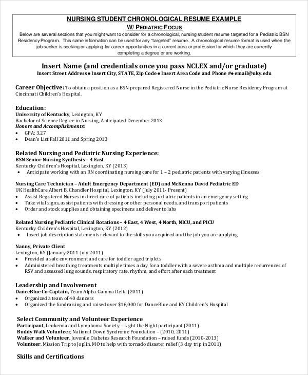 Nursing Student Chronological Resume