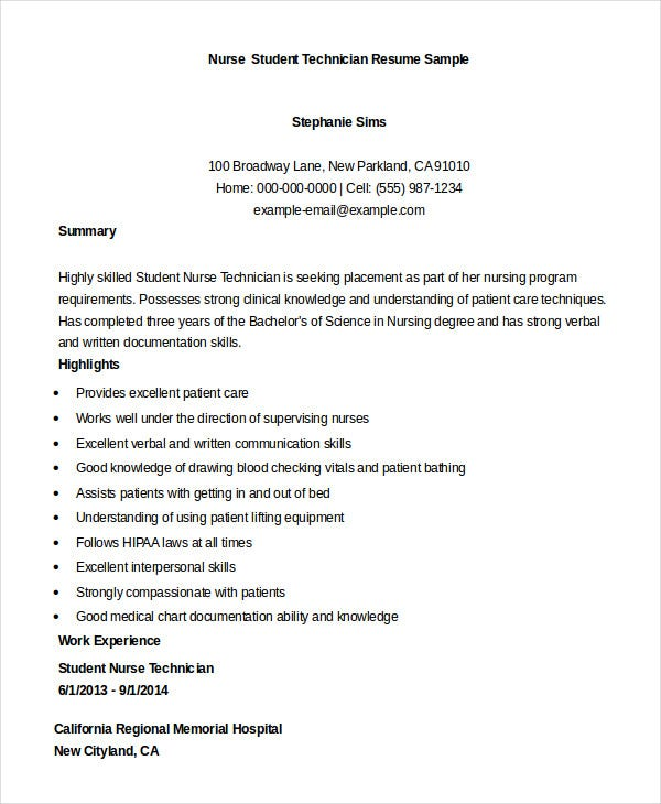 Student Nurse Technician Resume Sample