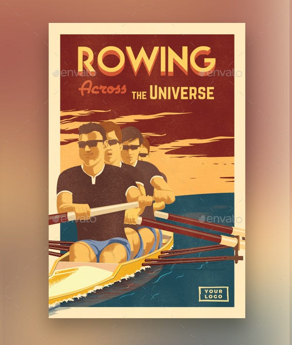 vintage poster for rowing enthusiasts