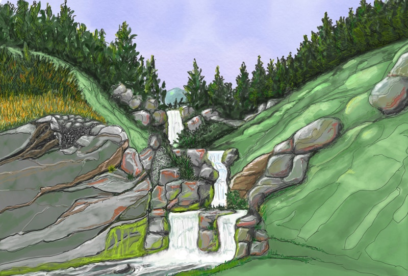 Waterfalls Nature Drawing