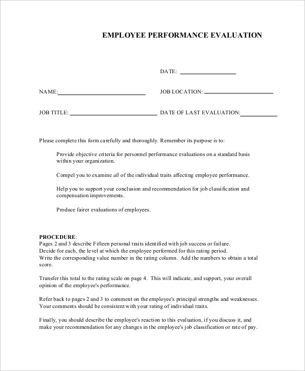 Employee Evaluation Form Example 11 Free Word PDF Documents – Sample of Appraisal Form for Employee