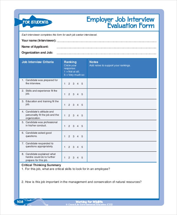 Employee Evaluation Form Example 11 Free Word PDF Documents – Interview Evaluation Forms