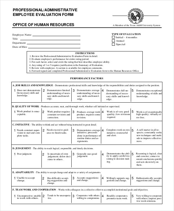 professional employee evaluation form