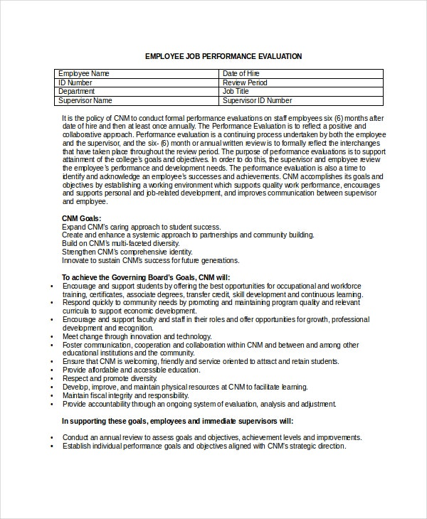 employee job performance evaluation form in doc