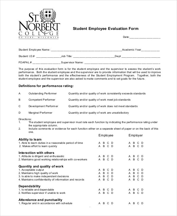student employee evaluation form free download